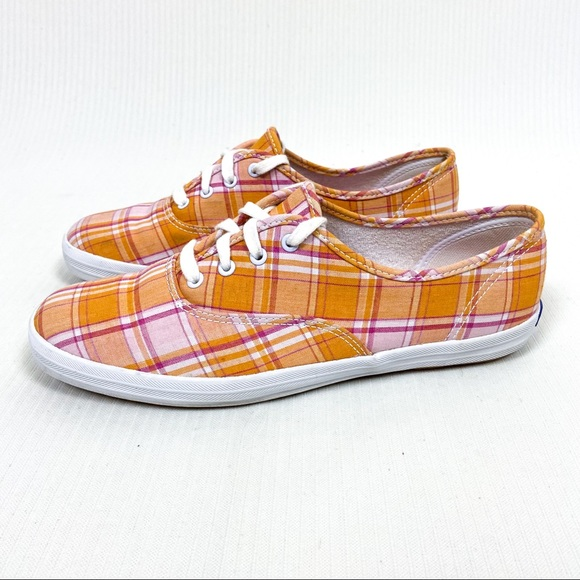 Keds Orange Pink Plaid Lace Up Sneakers